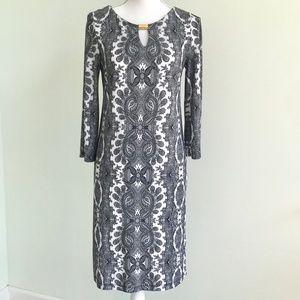 Emma & Michele Paisley Dress w/Keyhole Neckline